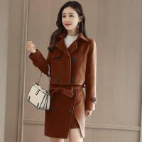 时尚休闲套装女秋冬新款韩版短外套毛呢包臀裙半身裙两件套潮