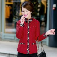 中老年女装韩版修身羽绒棉衣女士内胆妈妈装大码棉袄 中国红 (衬衫款)