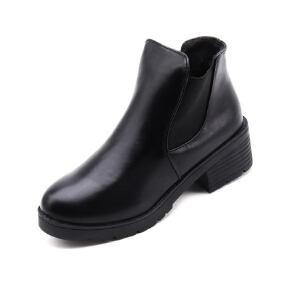 WARORWAR新品YM10-F59冬季韩版粗跟中跟女士靴子切尔西靴短靴