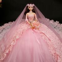 品质芭比娃娃套装粉色婚纱大礼盒90厘米拖尾女孩公主玩具洋娃娃 粉红色 高度48CM左右裙摆直径90CM
