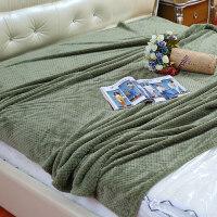 法兰绒小毛毯学生珊瑚绒毯子冬季加厚空调午睡毯单人床单毛巾被子 军绿色 200cmx230cm