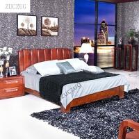 ZUCZUG海棠木实木床 现代新中式1.2/1.5/1.8米大 卧室双人 高箱储物 +头柜*2