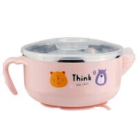 注水碗宝宝注水保温碗不锈钢防摔防滑辅食碗儿童餐具注水碗婴儿A