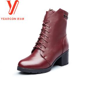 意尔康女鞋2017冬季尖头马丁靴女真皮短筒靴高跟粗跟靴子女