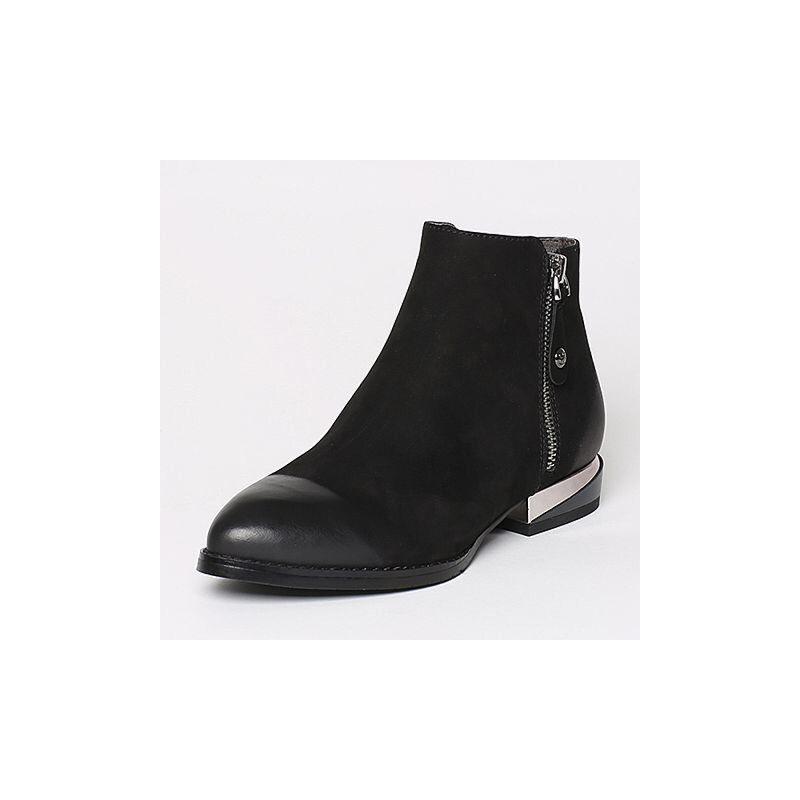 Belle/百丽冬季专柜同款磨砂牛皮女短靴BND42DD6