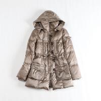 冬装女中长款羽绒服 可脱卸连帽系带白鸭绒日系外套43N