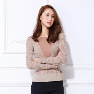 2018春新款网纱金银丝打底衫新款韩版体修身百搭血长袖T恤女上衣