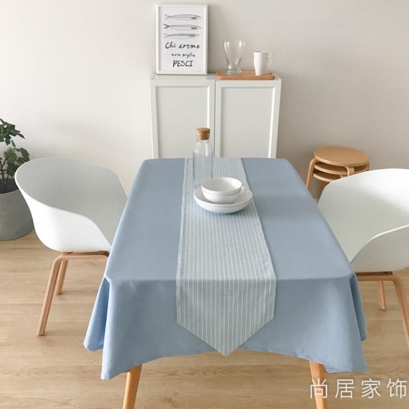 地中海餐桌布浅蓝素色桌布布艺棉麻盖布圆桌茶几台布书桌条纹桌旗 浅蓝桌布(桌旗另拍)
