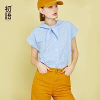 【1件3折价:74.5元】初语夏装新款 韩版百搭系带领格子衬衣可爱纯棉短袖衬衫女