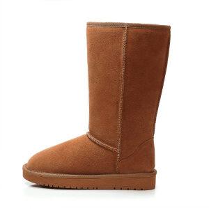 WARORWAR 2019新品YG29-S18-X10冬季欧美磨砂反绒牛皮真皮低底舒适女鞋潮流时尚潮鞋百搭潮牌中高筒雪地靴