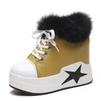 靴子女2018秋冬新款韩版百搭毛口短靴坡跟厚底内增高10cm马丁靴女