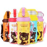 儿童保温杯 带吸管不锈钢 可爱宝宝便携水壶 男女学生水杯