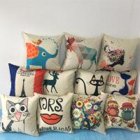 卡通抱枕沙发靠枕亚麻靠垫含芯办公室现代创意北欧简约礼品