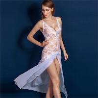 情趣内衣诱惑套装长款吊带蕾丝睡裙透明性感睡衣夜店制服女