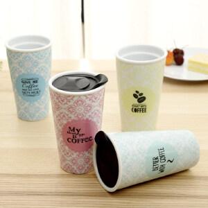 爱屋格林美式创意咖啡杯小清新水杯双层陶瓷马克杯带盖随手杯