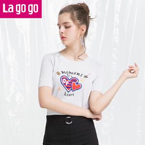 Lagogo/拉谷谷2018年夏季新款时尚圆领贴布刺绣针织衫HAMM213Y18