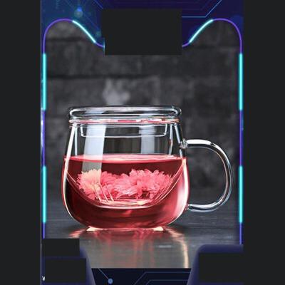 家用耐热泡茶杯办公室花茶杯透明玻璃过滤茶杯加厚