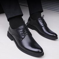 黑色秋季皮鞋男士学生商务正装韩版男鞋青年圆头内增高鞋子休闲鞋