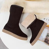 2018新款冬季雪地靴女加绒短靴增高中筒靴圆头加厚保暖棉鞋靴子女