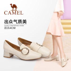Camel/骆驼女鞋 2018秋季新品 时尚优雅金属圆扣方头粗跟舒适单鞋