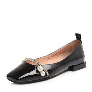 Tata/他她2018春专柜同款漆牛皮珍珠水钻方头浅口女鞋S1404AQ8
