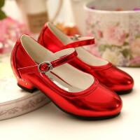 儿童高跟鞋秋鞋女童公主鞋红色女孩小皮鞋中大童学生舞蹈演出春鞋