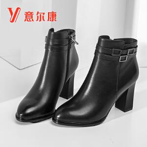 意尔康2018秋冬新款女鞋时尚粗高跟尖头女靴短靴
