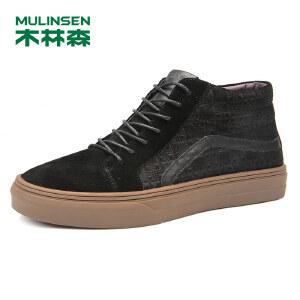 木林森99男靴冬季新款男士反绒皮时尚板鞋牛筋底男鞋舒适短靴