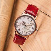 韩版潮流时尚学生手表 高品质手表 复古罗马铜壳地图面手表石英表