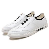 秋季小白鞋男士休闲潮鞋透气增高皮鞋男韩版百搭懒人鞋男白色板鞋软底