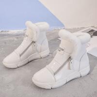 №【2019新款】冬天穿的漆皮短靴女平底白色雪地靴棉鞋41大码女靴43女鞋加绒40棉靴子