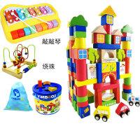 婴儿木制桶装积木玩具1-2周岁男宝宝儿童木头启蒙3-6周岁女孩