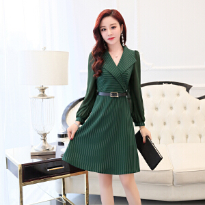 2018春装新款西装领连衣裙韩版潮时尚气质ol职业裙修身显瘦a字裙