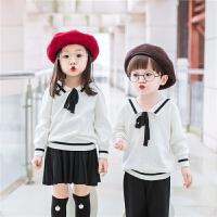 男女童秋冬黑白针织衫纯棉海军风长袖毛衣上衣校园风套装裙子裤子