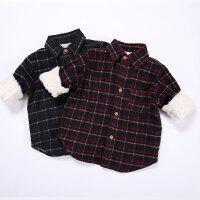 童装冬季男女宝宝格子加绒加厚保暖衬衣纯棉磨毛红色格子衬衫