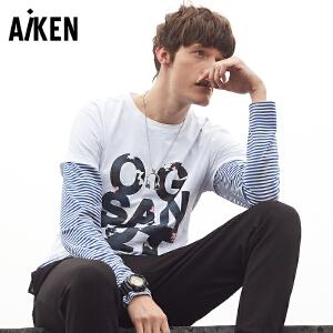 森马旗下Aiken印花字母T恤男士夏装男装圆领短袖修身半袖上衣休闲tee