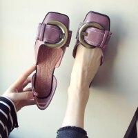欧美风春夏新款皮带扣蝴蝶结中空大码平底平跟单鞋女软底逛街鞋