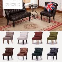 ZUCZUG定制真皮沙发组合经典实木小型会所酒店办公复古拉扣欧式皮艺沙发