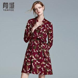 颜域品牌女装2017冬装新款优雅系带收腰v领修身针织印花连衣裙女