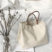新款韩风简约手提布包购物袋大容量包包单肩包女夏季白色帆布包