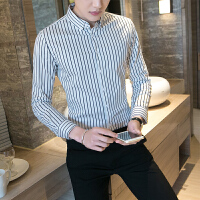 男士衬衫长袖青年修身型商务休闲韩国潮流2018春装帅气条纹衬衣男
