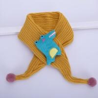 宝宝围巾冬季可爱针织毛线男童女童围脖加厚保暖婴儿围巾儿童围脖 黄色 鲨鱼围巾 1-6岁