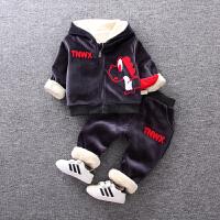 宝宝秋冬装男童金丝绒套装0一1-3岁婴儿加绒加厚卫衣两件套韩版潮 冷灰色 TX恐龙两件套