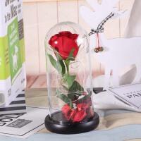 情人节生日玫瑰花带灯玻璃罩摆件元旦新年礼物送女友礼品礼物