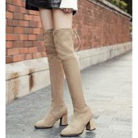 卡其色靴子女秋冬新款过膝长靴高跟百搭靴子显瘦尖头女粗跟长筒靴卡其色浅靴 TBP