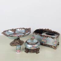 欧式果盘三件套装家居客厅茶几装饰品树脂水果盘纸抽盒烟灰缸摆件