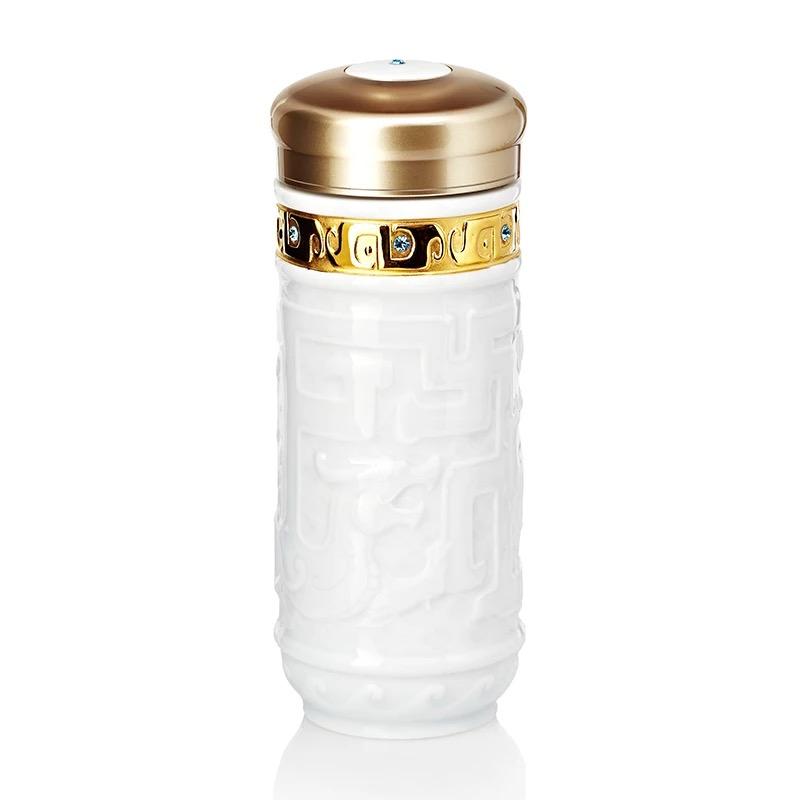 乾唐轩活瓷吉星鎏金龙腾随身杯双层创意陶瓷水杯子商务礼品定制