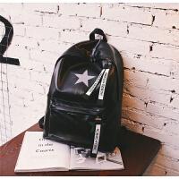 书包女韩版原宿 高中学生软皮双肩包男街头潮流时尚背包潮 黑色