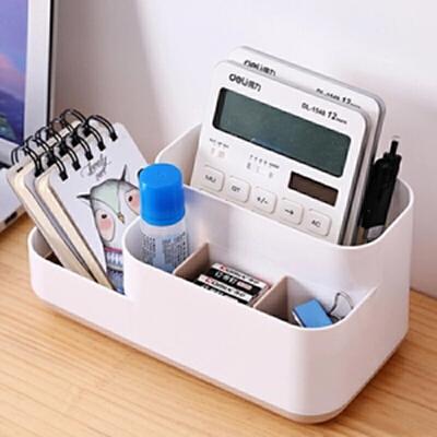 桌面收纳盒 家用梳妆台护肤品口红置物架办公室文具桌面整理盒 分类有序、拿取方便