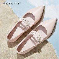 【5.18-5.19日抢购价:89.9】牛皮MECITY女装2018新款尖头平底珍珠单鞋